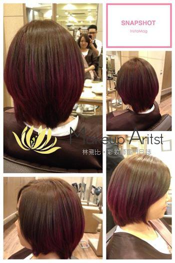 《染髮》一個暈染的概念: 灰綠色佐各種紫紅 粉紫 @林飛比。玩美誌